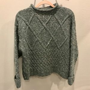 Express Tricot   Vintage Chunky Green Sweater